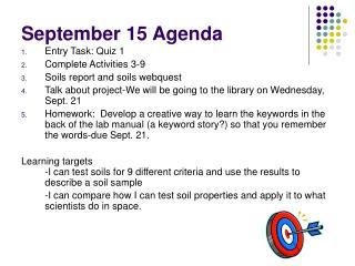 September 15 Agenda
