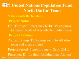Sudan/North Darfur state. Project Name: