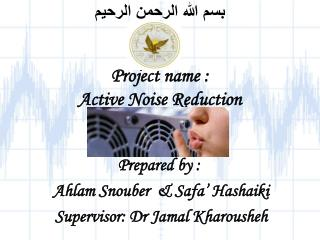 بسم الله الرحمن الرحيم Project name : Active Noise Reduction