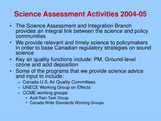Science Assessment Activities 2004-05