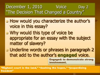 "December 1,  2010	 	Voice Day  2 ""The Decision That Changed a Country"""