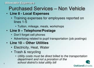 Purchased Services – Non Vehicle