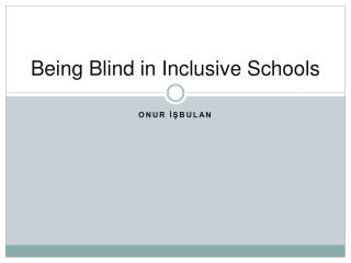 Being Blind in Inclusive Schools