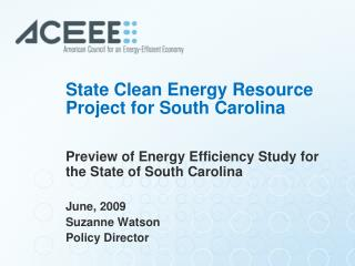 State Clean Energy Resource Project for South Carolina