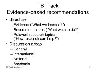 TB Track Evidence-based recommendations