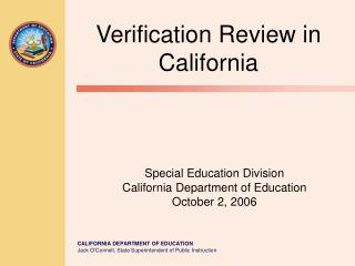Special Education Division California Department of Education October 2, 2006