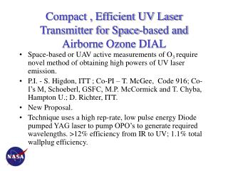 Compact , Efficient UV Laser Transmitter for Space-based and Airborne Ozone DIAL