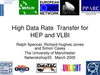 High Data Rate  Transfer for HEP and VLBI