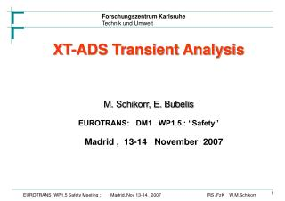 "XT-ADS Transient Analysis M. Schikorr, E. Bubelis EUROTRANS:   DM1   WP1.5 : ""Safety"""