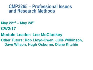 CMP3265 – Professional Issues and Research Methods