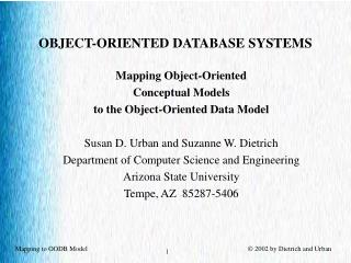 OBJECT-ORIENTED DATABASE SYSTEMS