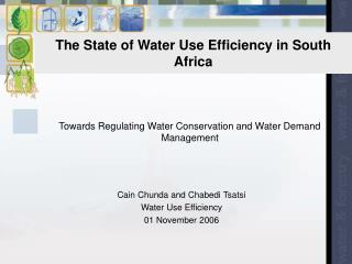 The State of Water Use Efficiency in South Africa