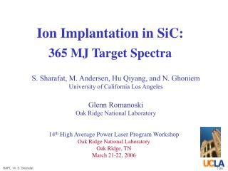 Ion Implantation in SiC: 365 MJ Target Spectra