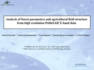 Analysis of forest parameters and agricultural field structure