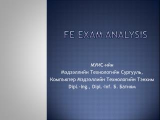 FE Exam  aNALYSIS
