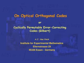 On Optical Orthogonal Codes