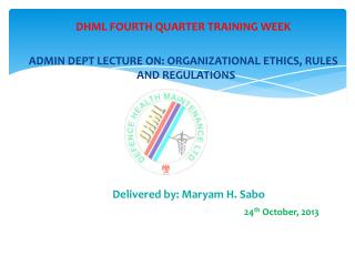 DHML  FOURTH QUARTER TRAINING  WEEK