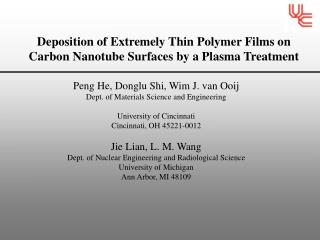 Deposition of Extremely Thin Polymer Films on Carbon Nanotube Surfaces by a Plasma Treatment