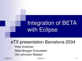 Integration of BETA with Eclipse