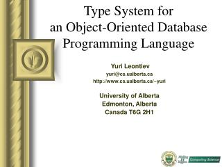 Type System for  an Object-Oriented Database Programming Language