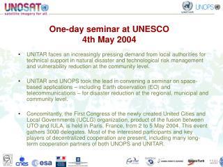 One-day seminar at UNESCO  4th May 2004