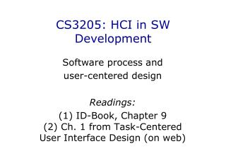 CS3205 : HCI in SW Development