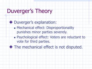 Duverger's Theory