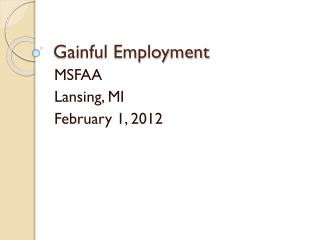 Gainful Employment