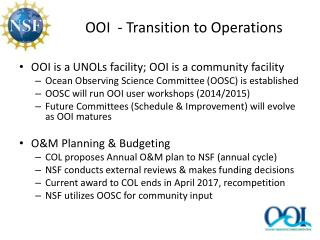 OOI  - Transition to Operations
