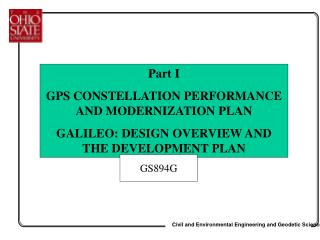 Part I GPS CONSTELLATION PERFORMANCE AND MODERNIZATION PLAN