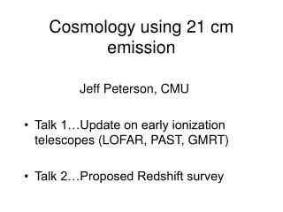 Cosmology using 21 cm emission