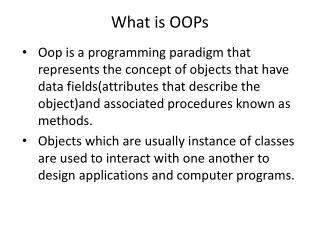 What is OOPs