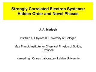 Strongly Correlated Electron Systems: Hidden Order and Novel Phases