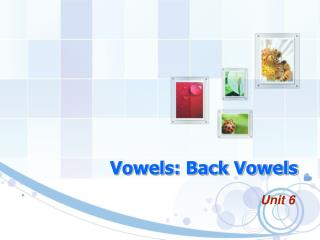 Vowels: Back Vowels