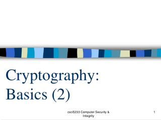 Cryptography:  Basics (2)