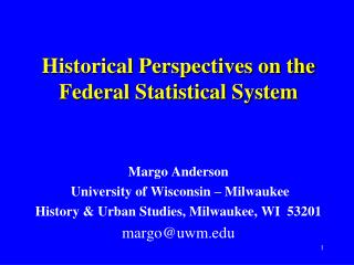 Historical Perspectives on the Federal Statistical System