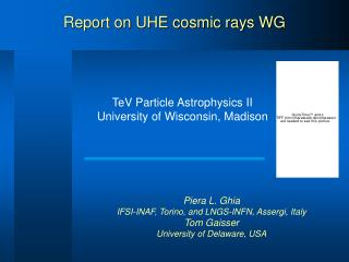 Report on UHE cosmic rays WG