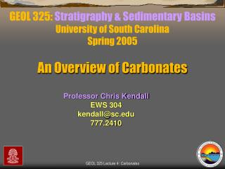 GEOL 325:  Stratigraphy & Sedimentary Basins University of South Carolina Spring 2005