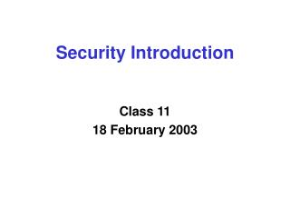 Security Introduction