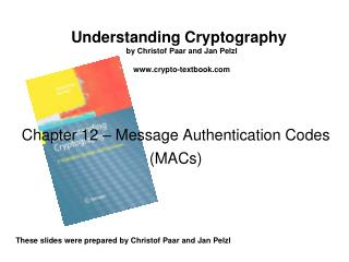 Chapter 12 –  Message Authentication Codes (MACs)