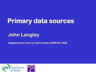 Primary data sources