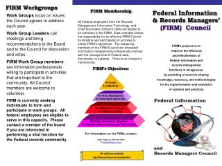 FIRM's Objectives: