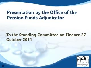 Presentation by the Office of the  Pension Funds Adjudicator