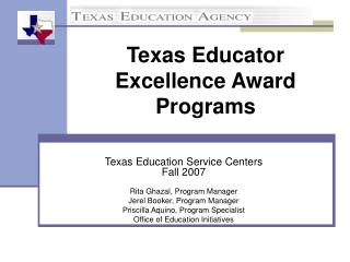 Texas Educator Excellence Award Programs