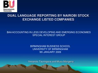 DUAL LANGUAGE REPORTING BY NAIROBI STOCK EXCHANGE LISTED COMPANIES