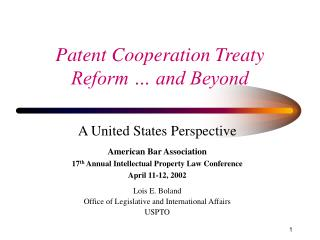 Patent Cooperation Treaty Reform … and Beyond