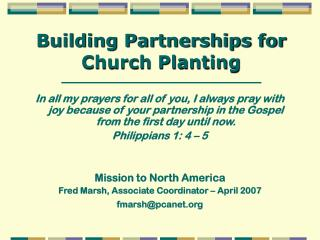 Building Partnerships for Church Planting