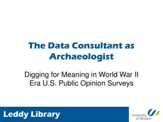 The Data Consultant as Archaeologist