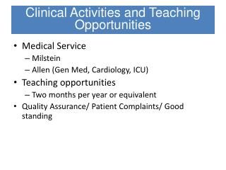 Medical Service Milstein Allen (Gen Med, Cardiology, ICU) Teaching opportunities