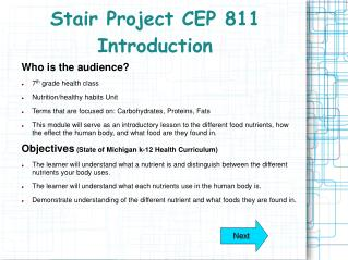 Stair Project CEP 811 Introduction